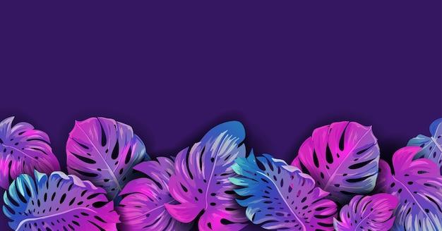 Sfondo di disegno vettoriale al neon tropicale estivo, poster vibrante di foglie di palma tropicale, volantino con cornice floreale hawaii per tessile, esotico = sfondo di confine, illustrazione di festa notturna in spiaggia alla moda