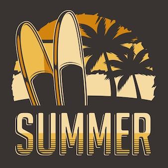 Retro illustrazione d'annata classica rustica tropicale di estate