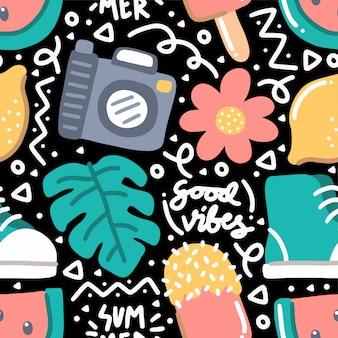 Doodle modello senza cuciture tropicale di estate