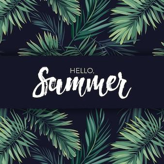 Disegno vettoriale tropicale di estate per banner o volantino con foglie di palma verde scuro e scritte bianche.