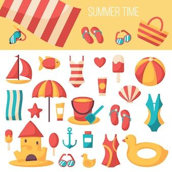 Set di icone di accessori per le vacanze estive. illustrazione astratta colorata. modello colorato per te, applicazioni web e mobile.