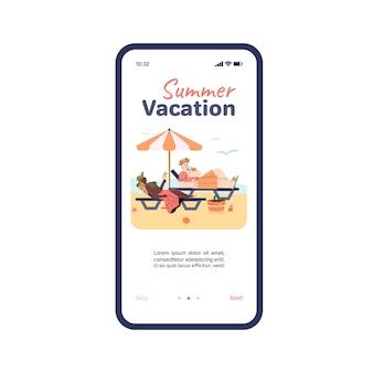 App per le vacanze estive con persone che si rilassano sulla spiaggia estiva