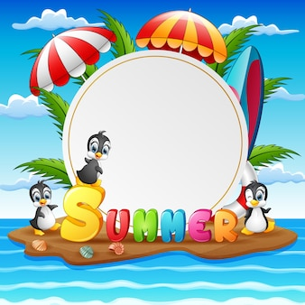 Sfondo di vacanze estive con i pinguini sull'isola