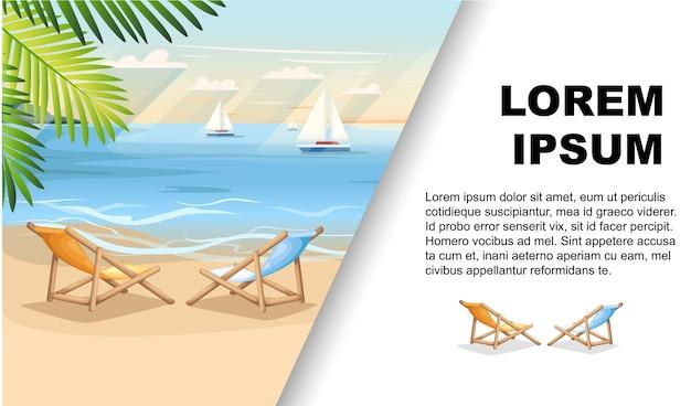 Vacanze estive sfondo spiaggia con foglie di palma verde volantino pubblicitario