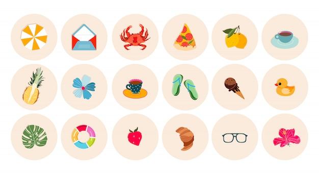 Set di icone di vacanze estive e spiaggia. adesivo estivo rotondo, collezioni di etichette. illustrazioni alla moda per i punti salienti di instagram, web design e stampa. concetto di viaggi e vacanze estive.