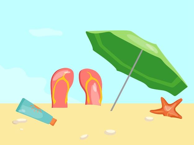 Vacanze estive sulla spiaggia illustrazione vettoriale di un ombrellone scisto e stelle marine