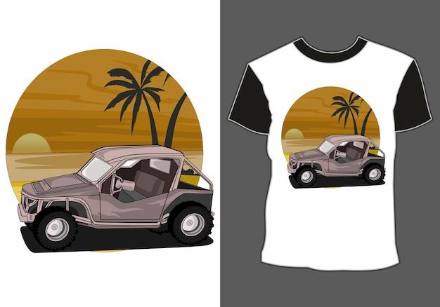 Auto per le vacanze estive sulla spiaggia, disegni di magliette a tema automobilistico e vacanze estive