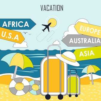 Concetto di vacanza estiva: bagagli sulla spiaggia in stile linea