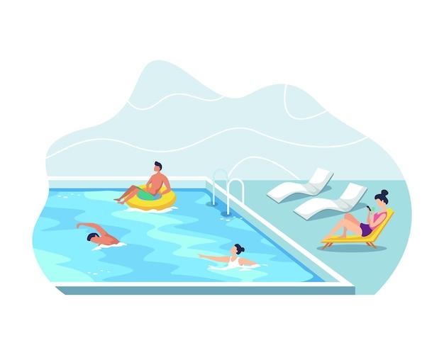 Concetto di vacanza estiva, uomo e donna che indossano costumi da bagno per prendere il sole. giovani uomini e donne che hanno divertimento alla piscina all'aperto. in stile piatto