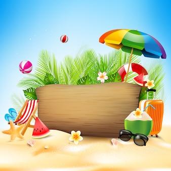 Concetto di vacanza estiva con succo di cocco e elemento estivo Vettore Premium