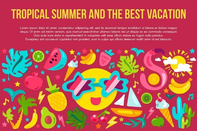 Modello di banner piatto per le vacanze estive. poster estivo tropicale con spazio di testo. icone dei cartoni animati del resort
