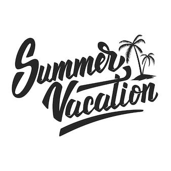 Vacanze estive. frase scritta disegnata a mano su fondo bianco. elemento per poster, volantino. illustrazione