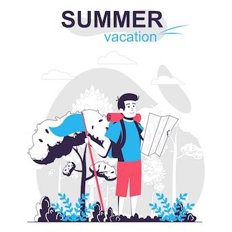 Concetto di fumetto isolato vacanze estive il viaggiatore con lo zaino e la mappa sta facendo un'escursione