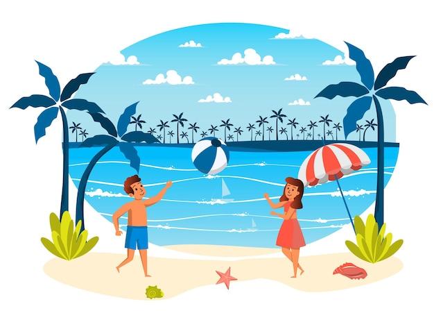 Scena isolata delle vacanze estive ragazza e ragazzo che giocano a palla sulla spiaggia