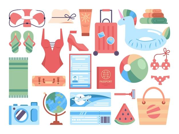 Set di articoli per le vacanze estive. oggetti per il relax in spiaggia e per il bagno in mare. valigia di turisti per il tempo libero estivo. stile di vita attivo. illustrazione vettoriale in stile cartone animato