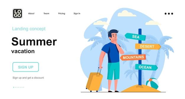 Design piatto del modello di pagina di destinazione delle vacanze estive