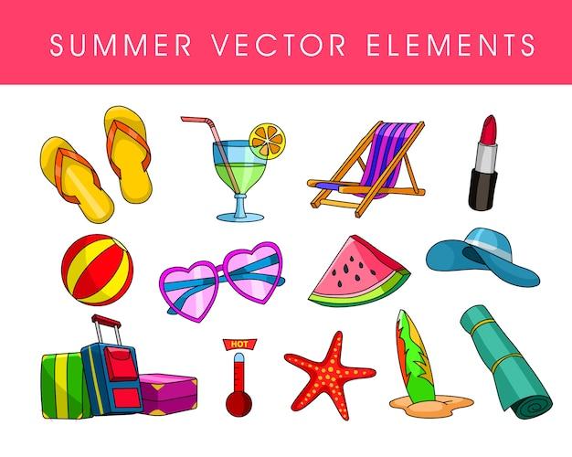 Insieme di oggetti di vacanze estive