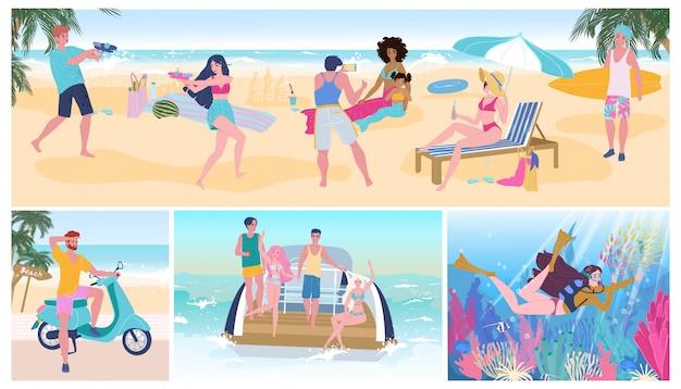 Le vacanze estive fanno festa sulla spiaggia, la gente che si diverte, illustrazione attiva di vettore di svago