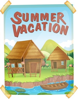 Poster per le vacanze estive con case lungo il fiume