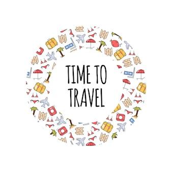 Stampa vacanze estive in cornice circolare con elementi di viaggio in stile disegnato a mano