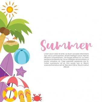 Le vacanze estive hanno impostato nell'illustrazione di vettore