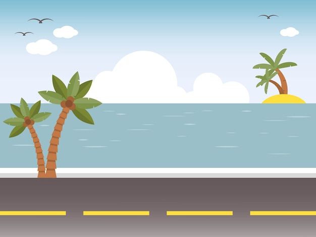 Vacanze estive, illustrazione spiaggia estate