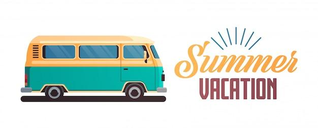 Saluto d'annata praticante il surfing del retro surf bus di vacanze estive