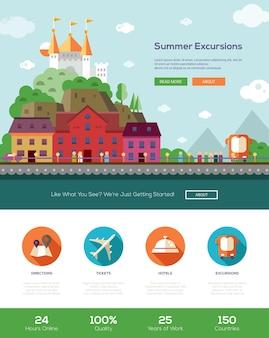Viaggi di viaggio di vacanze estive, modello di sito web di escursioni