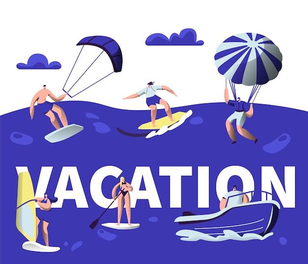 Banner di tipografia di attività di sport acquatici di vacanze estive.