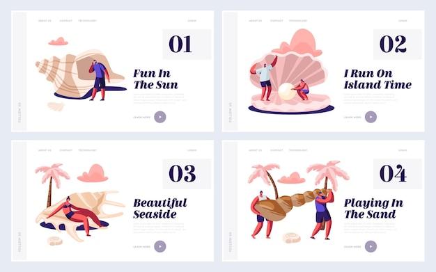 Set di pagine di destinazione del sito web per le vacanze estive