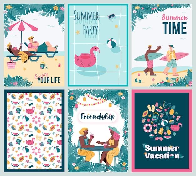 Set di carte per le vacanze estive con elementi tropicali