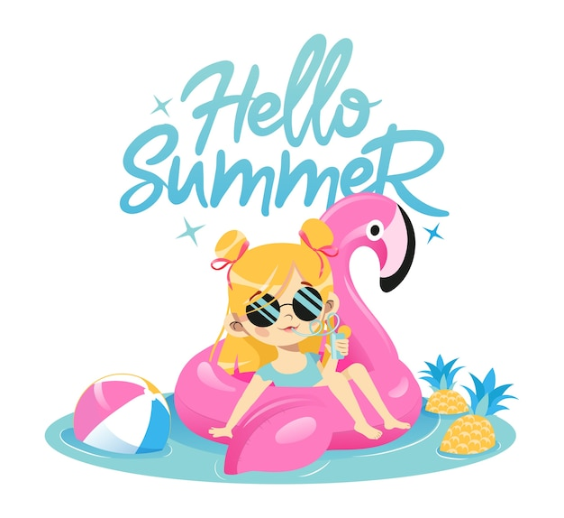 Concetto di vacanze estive. moda giovane ragazza sta nuotando in gomma fenicottero rosa in piscina bere cocktail. personaggio femminile carino hipster in occhiali da sole glamour.