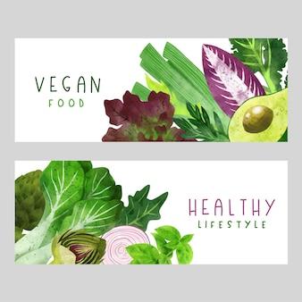 Illustrazione disegnata a mano dell'acquerello dell'insegna delle verdure di estate