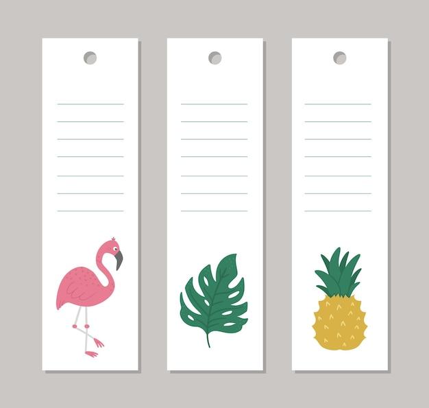 Modelli di carta di layout verticale estivo con animali tropicali
