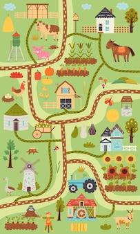 Mappa di fattoria rustica verticale estiva. villaggio costruttore di mappe, animali da fattoria, ranch. design della scuola materna per poster, tappeti, camera dei bambini. illustrazione di tiraggio della mano di vettore