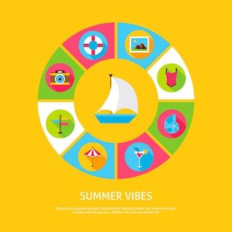 Concetto di vibrazioni estive. illustrazione di vettore del cerchio di infographics di vacanza del mare con le icone.