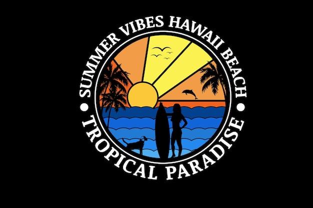 Summer vibes hawaii beach paradiso tropicale colore sfumatura arancione e sfumatura blu