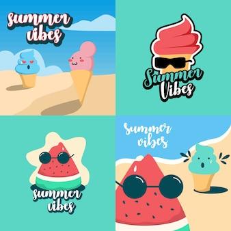 Disegno dell'illustrazione di vibrazioni dell'estate