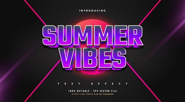 Testo summer vibes in grassetto viola con effetto rilievo 3d. effetto stile testo modificabile