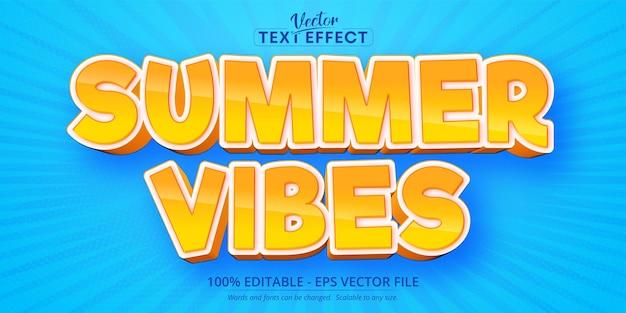 Summer vibes testo in stile cartone animato effetto di testo modificabile