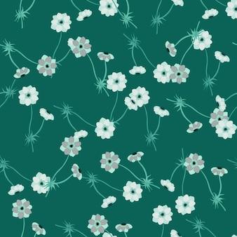 Modello senza cuciture in stile vintage estivo con elementi decorativi di fiori di anemone. sfondo verde. illustrazione di riserva. disegno vettoriale per tessuti, tessuti, confezioni regalo, sfondi.