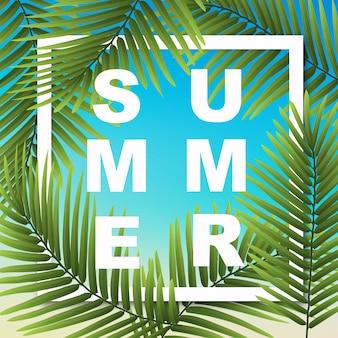Carta da parati estiva con piante tropicali. l'illustrazione può essere utilizzata per carte, poster, banner e altri oggetti.