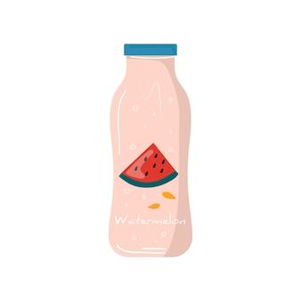Succo di anguria estiva nell'icona della bottiglia con frutta e bacche. frutta vegana e cocktail detox salutari. miscele vegetariane, bibite e frullati vitaminici rinfrescanti per succhi di frutta. vettore alla moda