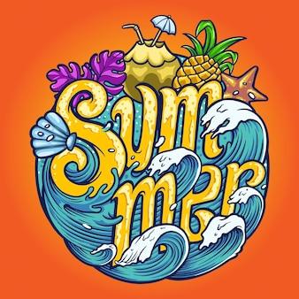 Summer wave typeface tropical illustrazioni vettoriali per il tuo lavoro logo, t-shirt di merce mascotte, adesivi e design di etichette, poster, biglietti di auguri pubblicitari società o marchi.