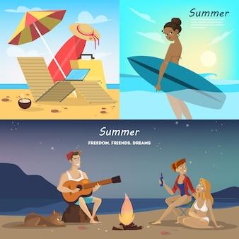 Set di banner web estate. raccolta di viaggi