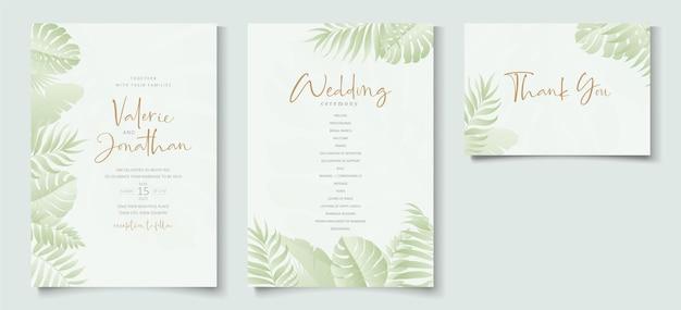 Biglietto di nozze estivo con ornamento di foglie tropicali