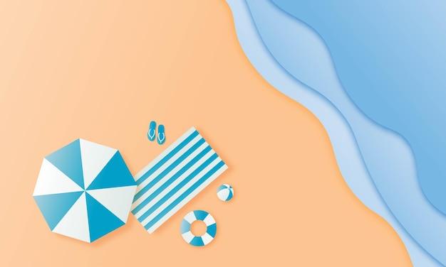 Estate con arte della carta del paesaggio della spiaggia