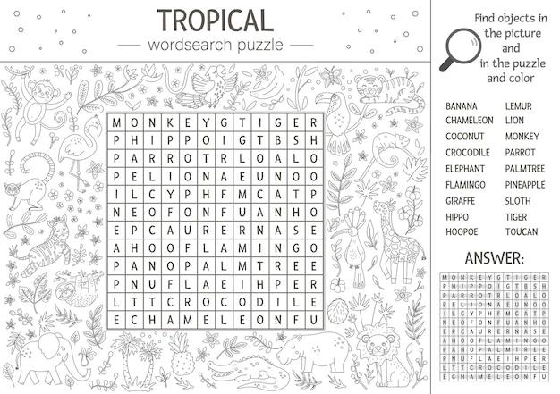 Puzzle di wordsearch estivo. parola chiave con animali tropicali e uccelli per bambini. attività educativa cruciverba nella giungla in bianco e nero con simpatici personaggi. pagina da colorare divertente per i bambini