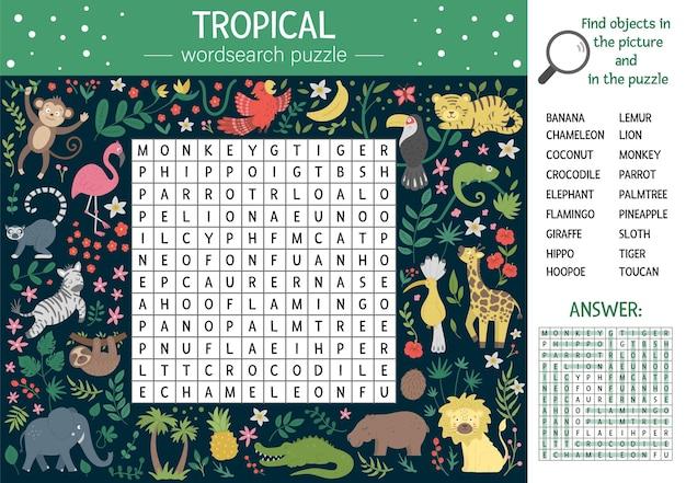 Puzzle di ricerca di parole estive per bambini. parola chiave con animali tropicali e uccelli per bambini. attività di cruciverba nella giungla educativa con simpatici personaggi divertenti