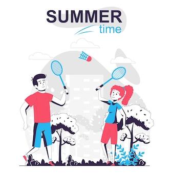 Concetto di cartone animato isolato attività estiva uomo e donna che giocano a tennis nel parco cittadino